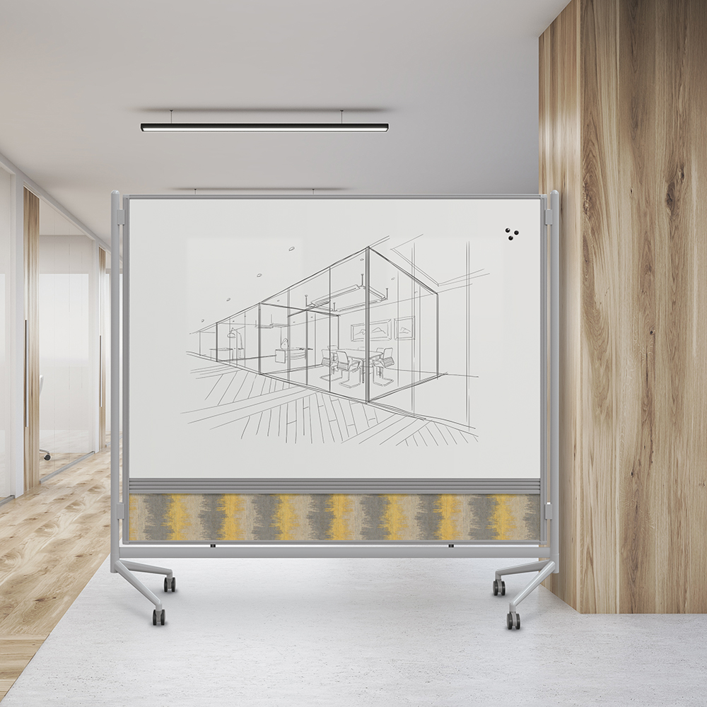 Office with wooden columns, panoramic windows and several meeting rooms. Concept of office building. 3d rendering.