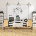 Black and white contemporary office - 3D Rendering